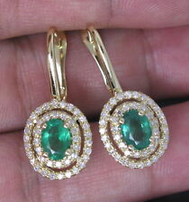 NEW HOT SOLID 14Kt YELLOW GOLD NATURAL DIAMOND GREEN EMERALD EARRINGS BEAUTIFULL