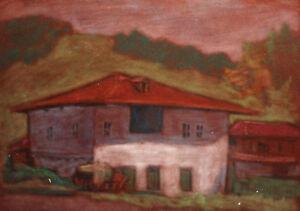 Vintage landscape house  pastel painting