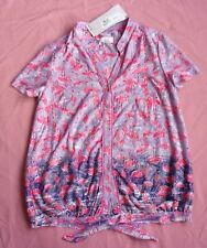 PER UNA Pink Purple Pelican Design Short-Sleeved Top - UK 10 NEW