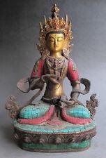 "9"" Old Tibet Tibetan 24K Gilt Turquoise Bronze Vajrasattva Buddha Statue"