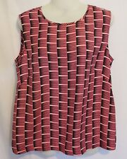 COUNTRY ROAD ~ Black Pink White 50's Look Geometric Sleeveless Top Blouse XS