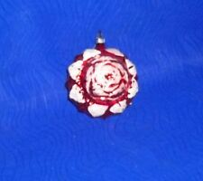 "Vintage Hand-painted  Rose Design Christmas Bulb- 3""D X 2.75"""