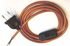 Cable Textil Conexión Alimentación Diseño Cobre 2-adrig Enchufe Interruptor 3M