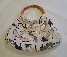 Bamboo Handle Shoes Print Bag Rockabilly Pinup Vintage Style NEW @ Emporium44