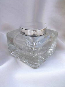 ANTIQUE SILVER GLASS GEORGE NATHAN & RIDLEY HAY INK BOTTLE INKWELL Chester 1903