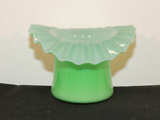 Fenton Case Glass Green Ruffled Edge Hat over 2 inches high (6454)