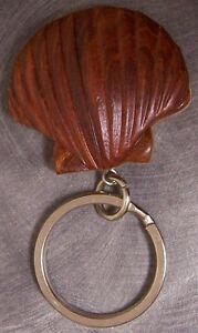 Intarsia Solid Wood Key Ring Nautical Sea Shell NEW Natural Finish