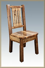 Farmhouse Style Dining Chairs Amish Made Kitchen Chair Rough Cut Pine Furniture