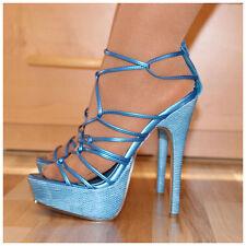Plateau Sandaletten Gr. 36 1/2 - 37 / US6 High Heels blau (#2138)