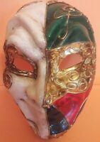 Maschera Venezia Arlecchino Cartapesta Vintage Harlequin Venice Mask