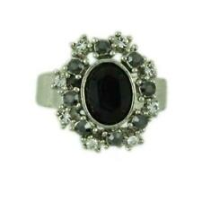Black Oval Stone Surrounded by Crystals Adjustable Ring - RS302