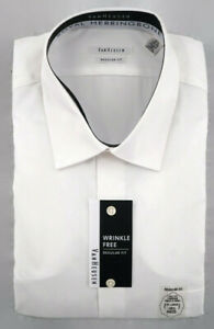 Van Heusen Dress Shirt Mens 2XL 18.5 34/35 Regular Fit White Herringbone NWT