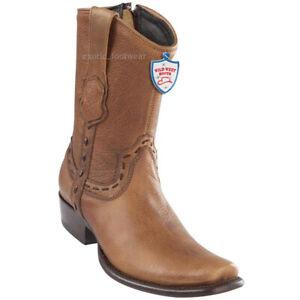 Men's Wild West Genuine Rage Leather Western Boots With Zipper Dubai Toe