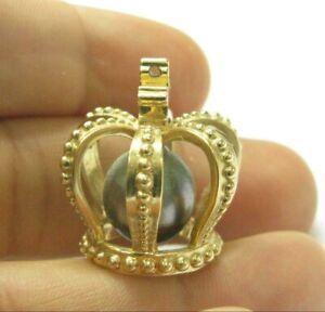 Tahitian Pearl Crown Pendant 14Kt Yellow Gold 12mm