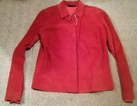 015 Women's Express Leather 11/12 Long Sleeve Shirt Button Front Red