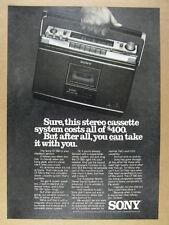 1976 Sony CF-580 CF580 Portable Stereo boombox photo vintage print Ad