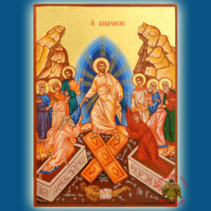 Orthodox Mounted Icon Ressurection Of Christ Holy Easter Ikone Auferstehung