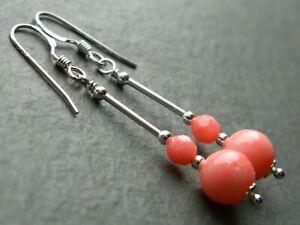 Natural Salmon Pink CORAL Gemstone Beads & 925 Sterling Silver Drop Earrings