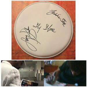 """GFA Rare Band x3 SLY AND THE FAMILY STONE Signed 10"""" Drumhead PROOF S2 COA"""
