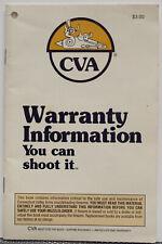 Cva Muzzleloader Warranty Information Booklet - 1992 Rev 3/93