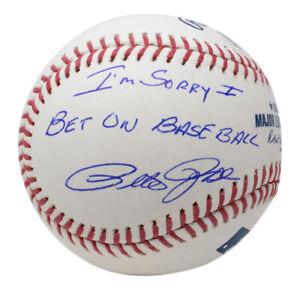 Pete Rose Signed Cincinnati Reds MLB Baseball Sorry I Bet on Baseball BAS