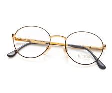 Vintage Hilton Manhattan 205 03 Black Gold Round Eyeglasses Frame Lunettes 22kt