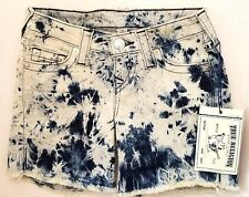 TRUE RELIGION MID CUT OFF TIE DYE FLARE AWAY MIDNIGHT DENIM SHORTS SZ 23 NWT