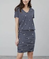 Joules Women Candice V Neck Jersey Dress With Gathered Skirt in Size 14