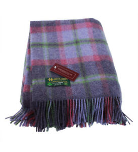 "New Wool Plaid Blanket Throw 54"" x 72"" Made in Ireland John Hanly & Co."