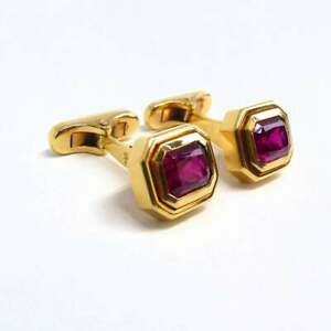 Two Top Quality Facetted 5CT Rubelites In Emerald Shape 10K Yellow Gold Cufflink