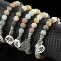 Matte Amazonite Stone Lotus Buddha Chakra Mala Bead Yoga Bracelet Charm Jewelry