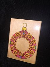 """Stamp Craft Wood Mounted Rubber Stamp , #440207 """"Christmas Ornament Frame"""""""