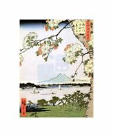 Painting Japanese Woodblock Cherry Blossom Ships On Water Canvas Print