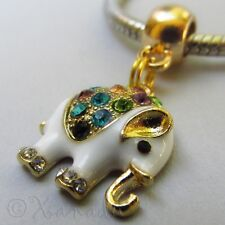 Elephant Gold Plated Large Hole Rhinestone Charm For European Charm Bracelets
