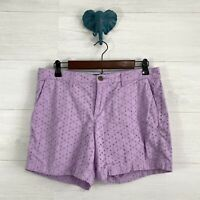 Old Navy SZ 8 Lilac Purple Eyelet Modest Length Casual Everyday Shorts Womens