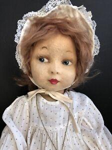Unidentified Antique/ Vintage Handmade (?) Lenci Type Felt Doll