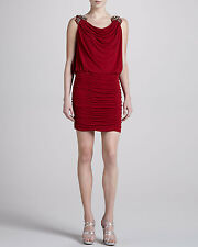 Laundry by Shelli Segal Women's Red Embellished-Shoulder Cocktail Dress Size: 8