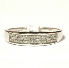 925 Sterling Silver .20ct SI1 H diamond 3 row mens wedding band ring 2.7g gents