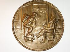 Vintage Embossed Round Brass Hanging Wall Plaque Fish Peddler 8 1/4""