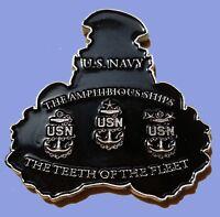 "TEETH OF THE FLEET AMPHIBIOUS SHIPS CPO CHALLENGE COIN US NAVY  2"" 94"