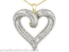 BIG 14K & SS ROUND BAGUETTE DIAMOND HEART NECKLACE 18 INCH + EARRINGS