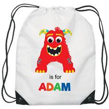 Personalised Monster Gym Bag Boys PE Sports School Swim Bag Waterproof
