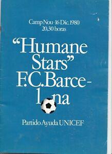 1980 BARCELONA v WORLD STARS X1 INC MARADONA CRUYFF KEEGAN BECKENBAUER +PENNANT