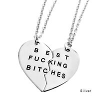 BFF Necklace Heart Best Friend Necklaces Pendant Friendship Jewelry Charm - 2pcs