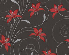 NEW A.S.CREATION LILLY TEXTURED FLORAL FEATURE WALLPAPER BLACK/RED/GREY 95700-2