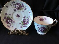 Aynsley Light Pastel Blue Aqua with Purple Violets Tea cup and Saucer EUC