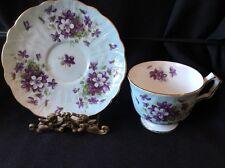 Aynsley Light Pastel Blue Aqua with Purple Violets Tea cup and Saucer EUC