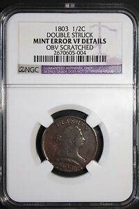 1803 Half Cent 1/2 Draped Bust MINT ERROR NGC Double Struck SUPER RARE!!