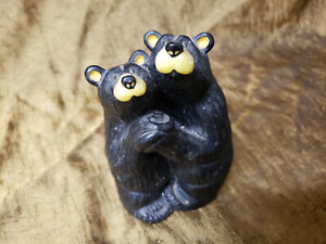 "BEARFOOTS Black Bears Hugging Artist Jeff Flemming Montana ""Bearfoot Swing"""