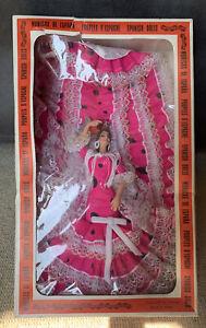 Vintage 1970s LARGE Spanish Spain Flamenco Dancer Doll Boxed.Pink Dress